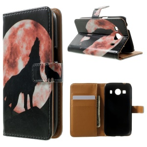 Wallet Leather Shell for Samsung Galaxy Ace 4 SM-G357FZ / Ace Style LTE G357FZ - Full Moon & Howling Wolf