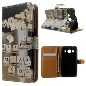 Wallet Leather Case for Samsung Galaxy Ace 4 SM-G357FZ / Ace Style LTE G357FZ - Miss You