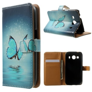 Wallet Leather Shell for Samsung Galaxy Ace 4 SM-G357FZ / Ace Style LTE G357FZ - Blue Butterfly