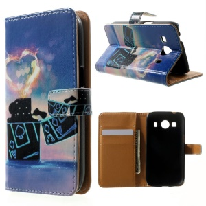 Wallet Leather Case for Samsung Galaxy Ace 4 SM-G357FZ / Ace Style LTE G357 - Lighter & Heart Flame