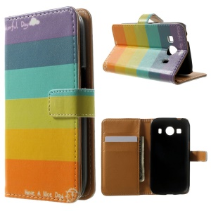 Wallet Leather Case for Samsung Galaxy Ace 4 SM-G357FZ / Ace Style LTE G357FZ - Colorful Stripes