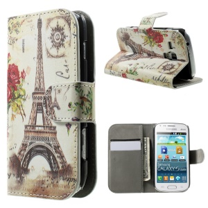 For Samsung Galaxy S Duos S7562 S7582 S7560 Wallet Leather Stand Cover Case - Gold Eiffel Tower & Flower