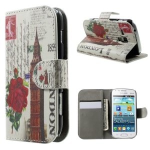 Wallet Stand Leather Cover Case for Samsung Galaxy S Duos S7562 S7582 S7560 - Big Ben & Flower