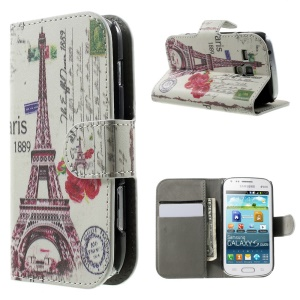 Red Eiffel Tower & Flower for Samsung Galaxy S Duos S7562 S7582 S7560 Wallet Leather Stand Cover Case