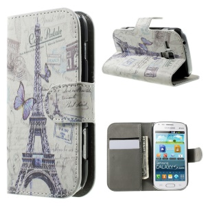 Flip Leather Case for Samsung Galaxy S Duos S7562 S7582 S7560 w/ Card Holder Stand - Eiffel Tower & Butterfly