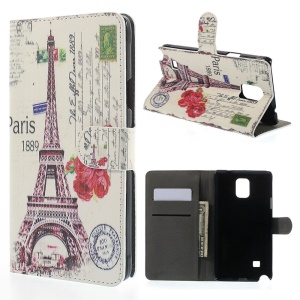 Paris 1889 Eiffel Tower for Samsung Galaxy Note 4 N910 Leather Wallet Case w/ Stand