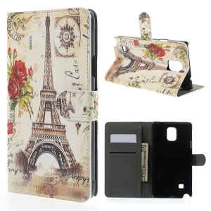 Rose & Eiffel Tower for Samsung Galaxy Note 4 N910 Leather Wallet Case w/ Stand