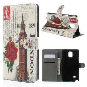Rose & Big Ben for Samsung Galaxy Note 4 N910 Leather Wallet Cover w/ Stand