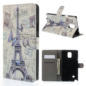Eiffel Tower & Butterfly for Samsung Galaxy Note 4 N910 Leather Wallet Shell w/ Stand