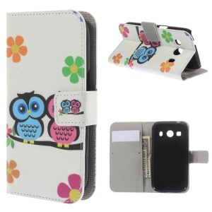 Couple Owl for Samsung Galaxy Ace Style LTE G357FZ / Ace 4 G357FZ Leather Wallet Cover w/ Stand