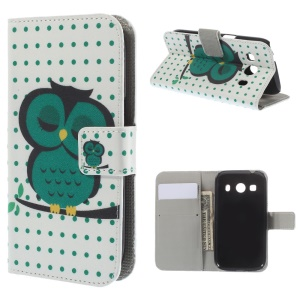Sleeping Owl Pattern Leather Wallet Stand Case for Samsung Galaxy Ace Style LTE G357FZ / Ace 4 G357FZ