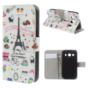 Eiffel Tower Pattern Leather Wallet Stand Case for Samsung Galaxy Ace Style LTE G357FZ / Ace 4 G357FZ