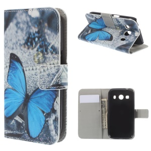 Blue Butterfly Pattern Leather Wallet Stand Case for Samsung Galaxy Ace Style LTE G357FZ / Ace 4 G357FZ