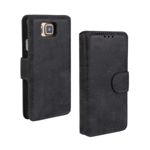 Frosted Leather Stand Case for Samsung Galaxy Alpha G850F w/ Card Holder - Black