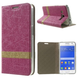 Lines Texture Leather Stand Case for Samsung Galaxy Core II 2 G355H - Rose