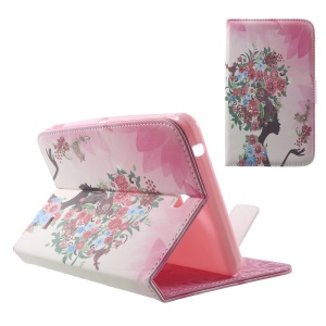 Leather Stand Case for Samsung Galaxy Tab 4 7.0 T230 - Rhinestone Flowered Girl with Birds