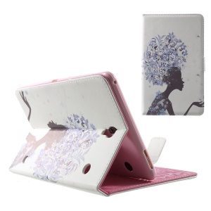 Smart Leather Stand Cover for Samsung Galaxy Tab S 8.4 T700 T705 - Rhinestone Purple Flowered Girl