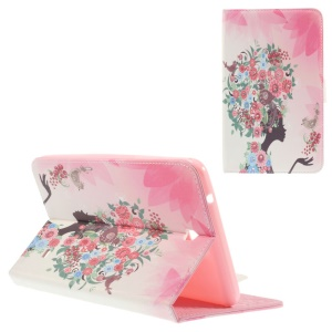 Stand Leather Case for Samsung Galaxy Tab 4 8.0 T330 - Rhinestone Flowered Girl with Birds