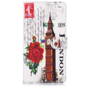ENKAY Leather Stand Case for Samsung Galaxy Note 4 N910 with Card Holder - Rose and Big Ben