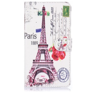 ENKAY Leather Stand Case for Samsung Galaxy Note 4 N910 with Card Holder - Paris Eiffel Tower
