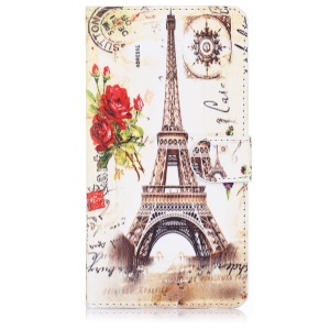 ENKAY Leather Stand Cover for Samsung Galaxy Note 4 N910 with Card Holder - Eiffel Tower and Rose