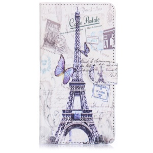 ENKAY Leather Stand Shell for Samsung Galaxy Note 4 N910 with Card Holder - Eiffel Tower and Butterfly