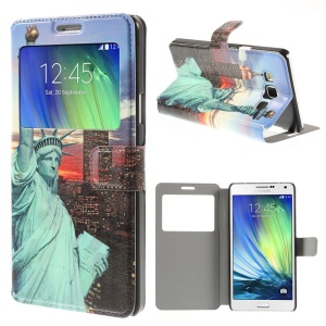 Statue of Liberty Window View Leather Stand Case for Samsung Galaxy A7 SM-A700F