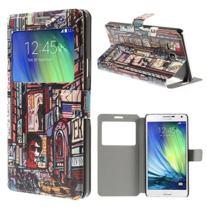 New York Times Square Window View Leather Stand Cover for Samsung Galaxy A7 SM-A700F