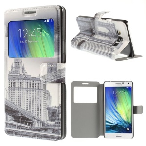 Brooklyn Bridge Window View Leather Case for Samsung Galaxy A7 SM-A700F with Stand