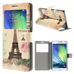 Eiffel Tower & Flowers Window View Leather Stand Cover for Samsung Galaxy A7 SM-A700F