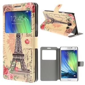Eiffel Tower & Postmark Window View PU Leather Case for Samsung Galaxy A7 SM-A700F