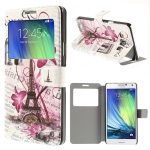 Eiffel Tower & Triumphal Arch Window View Leather Stand Cover for Samsung Galaxy A7 SM-A700F