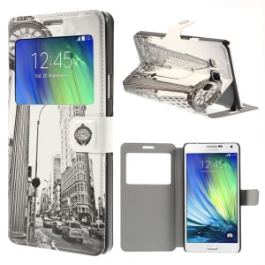 Fifth Avenue Building Window View Leather Stand Cover for Samsung Galaxy A7 SM-A700F