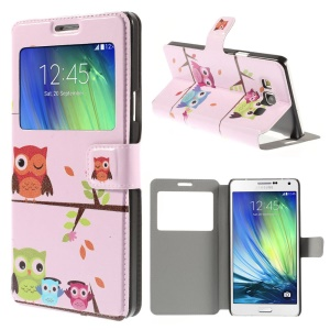 Multiple Owls Window View Leather Stand Cover for Samsung Galaxy A7 SM-A700F