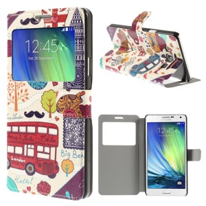 Cartoon Graffiti Window View Leather Stand Cover for Samsung Galaxy A7 SM-A700F