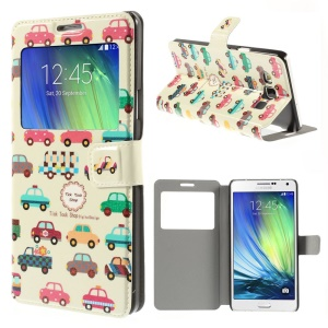Colorful Cars Window View Leather Stand Cover for Samsung Galaxy A7 SM-A700F