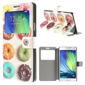 Delicious Cookies Window View Leather Stand Cover for Samsung Galaxy A7 SM-A700F