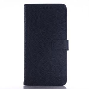 Litchi Grain Leather Wallet Case for Samsung Galaxy E5 SM-E500F SM-E500H - Black