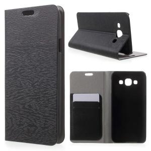 Wood Grain Leather Card Holder Case for Samsung Galaxy E5 SM-E500F SM-E500H - Black