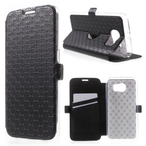 Diamond Lozenge Pattern Magnetic Leather Stand Case for Samsung Galaxy S6 G920 - Black
