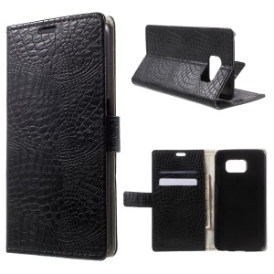 Crocodile Texture Leather Stand Case for Samsung Galaxy S6 G920 Card Holder - Black