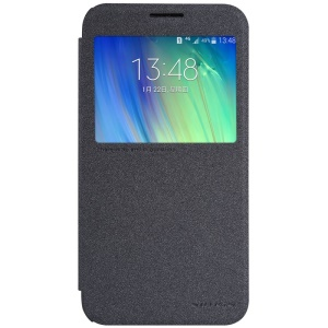 NILLKIN Sparkle Series Smart View Leather Case for Samsung Galaxy E7 SM-E700H - Black