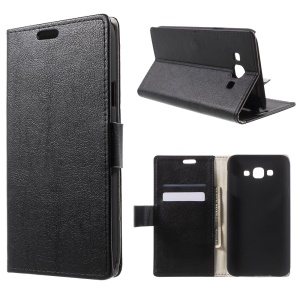 Leather Card Slots Stand Case for Samsung Galaxy E7 SM-E700H - Black