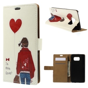 For Samsung Galaxy S6 G920 Folio Leather Stand Cover - Maiden Hold Balloon