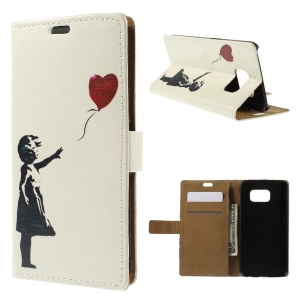 For Samsung Galaxy S6 G920 Folio Leather Stand Wallet Case - Girl Release Balloon
