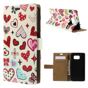 For Samsung Galaxy S6 G920 Folio Leather Stand Wallet Case - Colorful Heart Symbols
