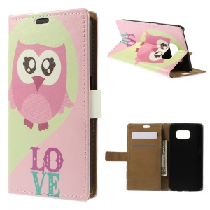For Samsung Galaxy S6 G920 Folio Leather Stand Wallet Case - Pink Owl
