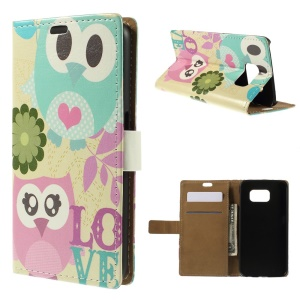 Color Painting Leather Stand Wallet Case for Samsung Galaxy S6 G920 - Owls in Love