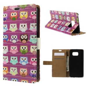 Color Painting Leather Stand Wallet Case for Samsung Galaxy S6 G920 - Purple Owl Gallery