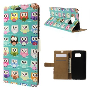 Color Painting Leather Stand Case Card Holder for Samsung Galaxy S6 G920 - Blue Owl Gallery